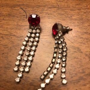 Red and silver rhinestone pierced earrings